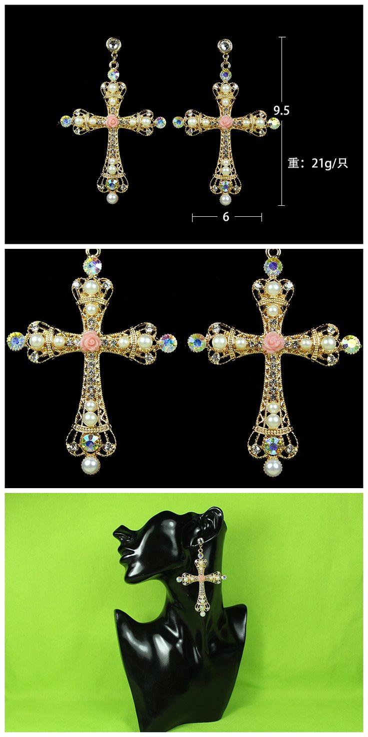 Известный бренд хрустальные основной костюм ювелирные изделия DG подиуме барокко королевский ретро стиле барокко креста стиль цветы золотые серьги купить на AliExpress