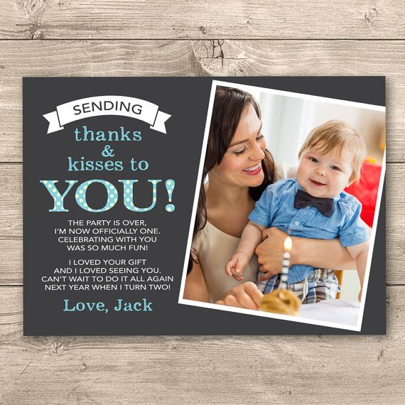 Boys First Birthday Thank you card (Digital File) - I customise for you to print. Blue Polka Dot Design. Personalised with Photo.
