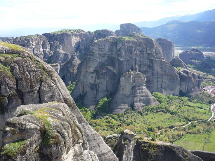 Sandstone pillars and lush plant growth; view from Holy Monastery of Grand Meteoron #cathytravelling