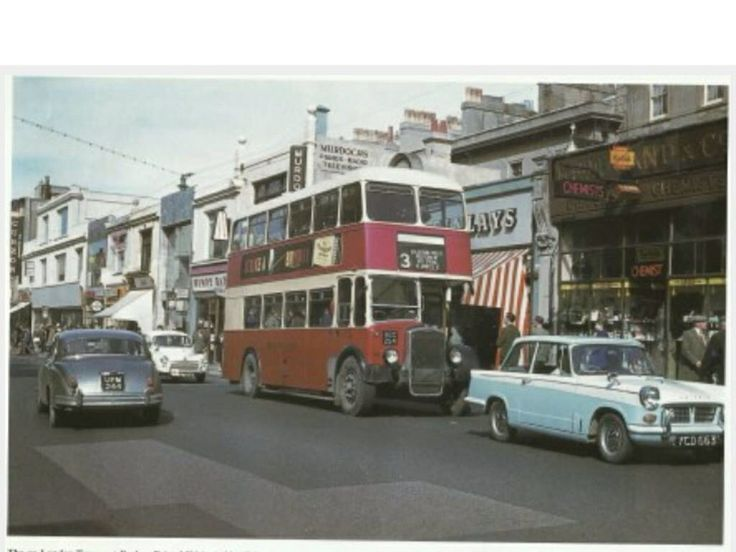 The northern side of Western Road, in the mid to late 1960's. Behind the No3 Bus is Findleys Tobacconist. AT the rear of the bus can be seen the Wimpy Bar, and at the very left edge of the photo is the neon sign of the Curzon cinema.