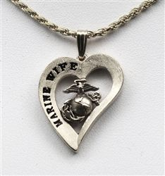 Sterling Silver Marine Wife Heart Pendant