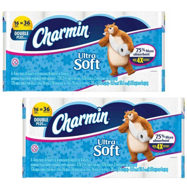 En Target puedes conseguir el Papel de Baño Charmin Double Plus Roll de 16 ct a $9.99 en especial hasta el 4/1. Utiliza (2) cupones que pue..
