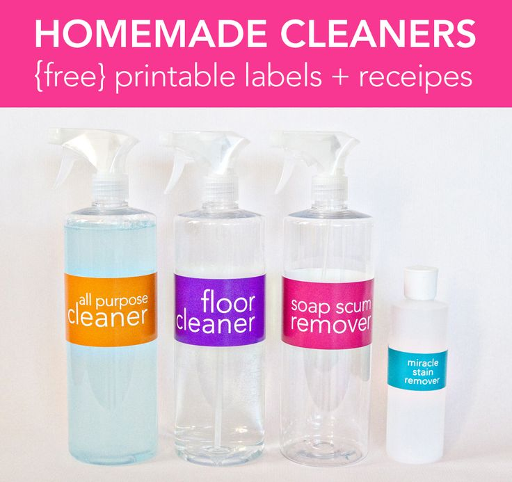 Homemade Cleaner recipes + FREE printable labels for your bottles. I love cute…