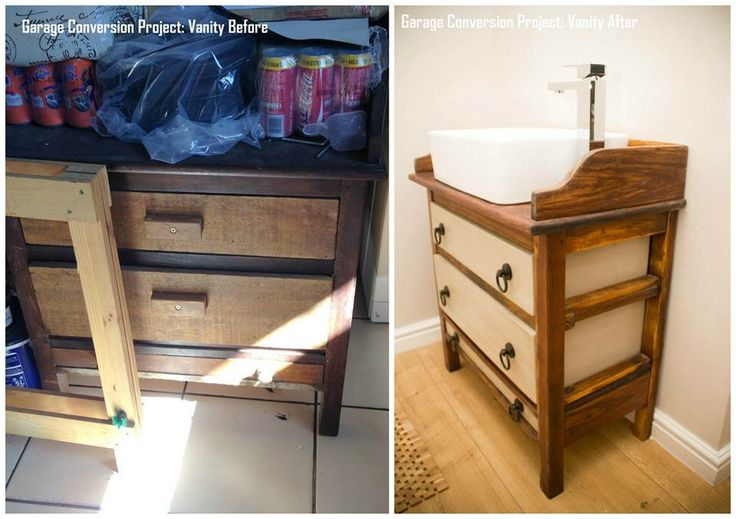 Old chest of drawers transformed into a bathroom vanity