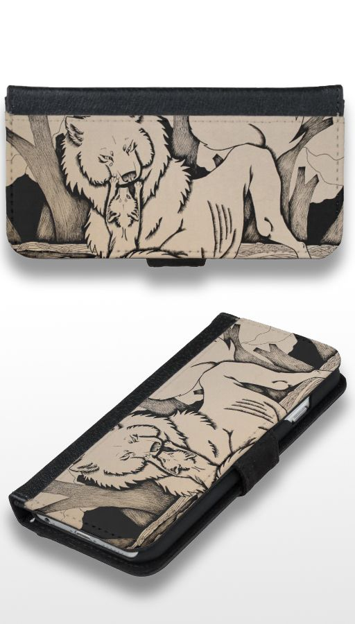 """Play Date"" Black and white fox and wolf Wallet Phone Case For iPhone 6/6s"