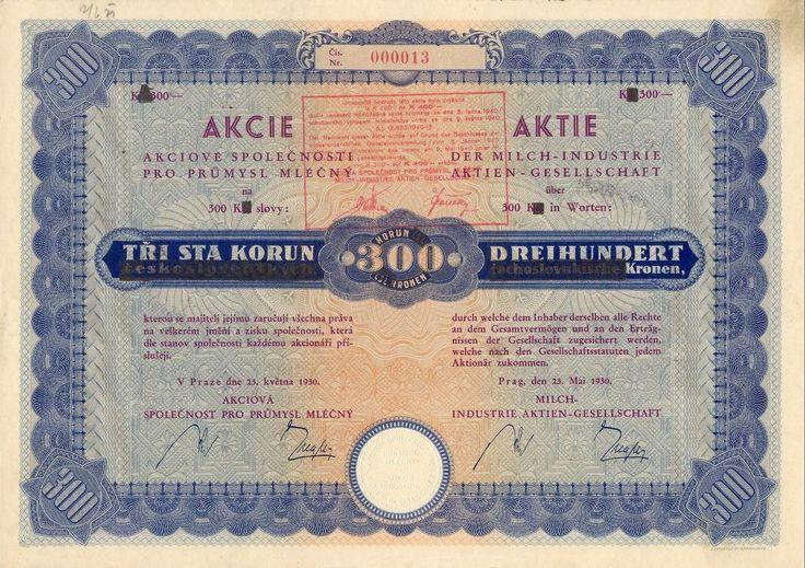 Akciová společnost pro průmysl mléčný (Milch-Industrie AG.) Akcie na 300 Kč. Praha, 1930.