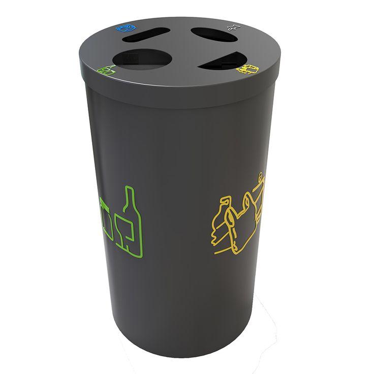 Baerum Collecteur tri sélectif pour bureau 4 x 30 litres Ensemble de 4 collecteurs couleurs de 30 litres.
