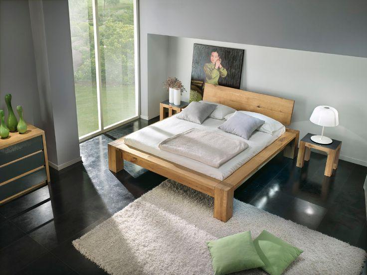 <b>Essenza Wood </b> : Letto tutto legno rovere naturale con piedi quadrati 16x16 /testata H 40cm - CM 223X195 - disponibile in più misure e finiture rovere -
