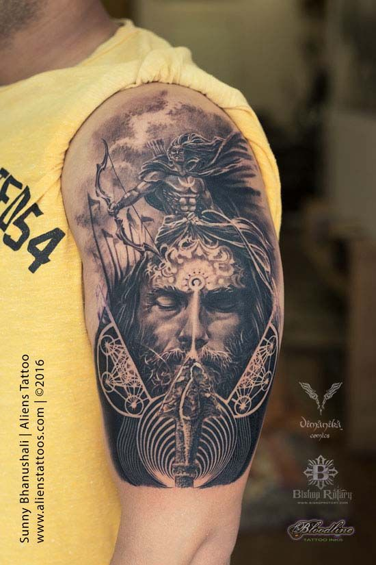 Lord Arjuna tattoo by Sunny Bhanushali at Aliens Tattoo India.