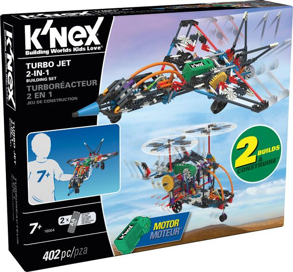 K'NEX Turbo Jet 2-In-1 Building Set - 2-in-1! Build a supersonic jet, then build a heli-plane with rotating propellers. Over 400 K'NEX rods & connectors are included, plus a battery-powered motor. Build a jet with motorized, rolling wheels and an open-and-close cockpit! Then take it apart and build a heli-plane with working, motorized propellers that you can adjust to spin vertically or horizontally. All K'NEX rods & connectors are proudly made in the USA.