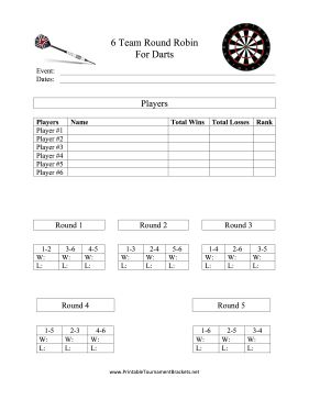 Use this printable round robin bracket to schedule six teams for a darts tournament. Free to download and print