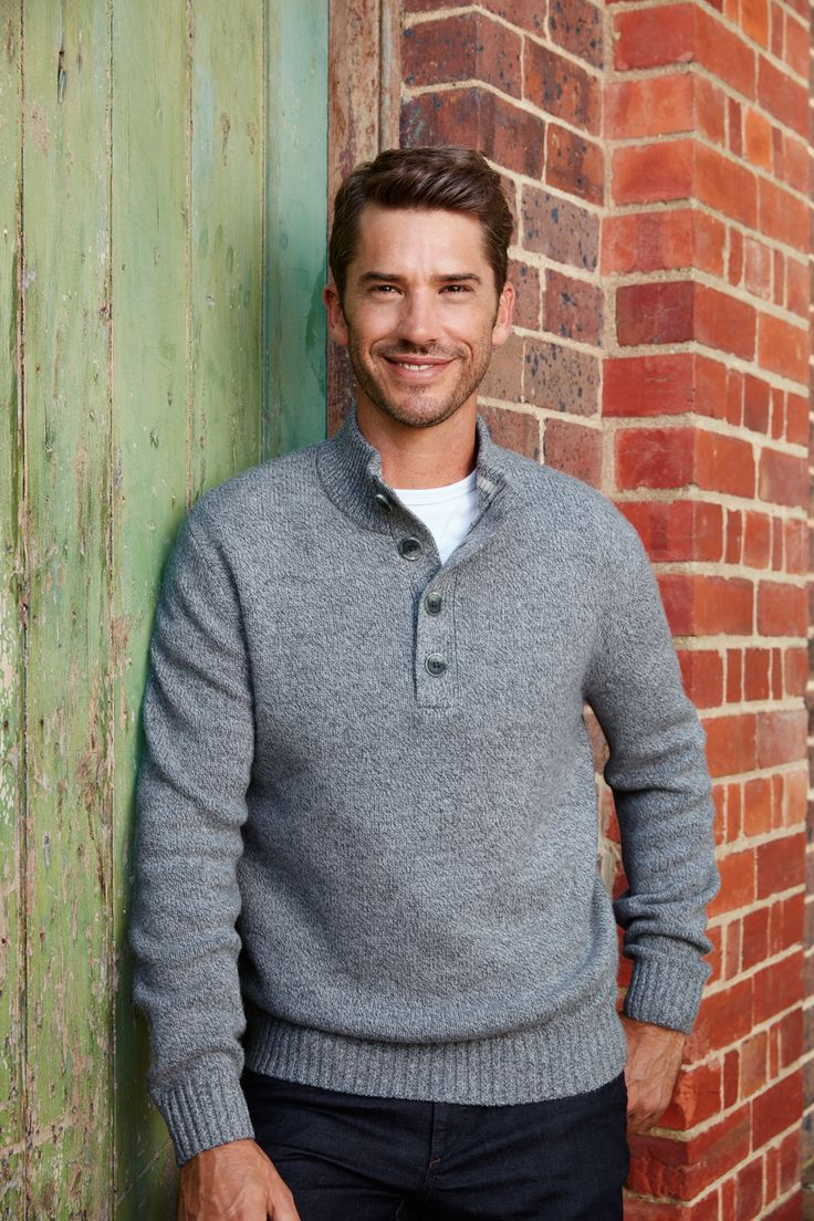 This wool blend button neck style speaks relaxed comfortable style. Perfect for your weekends – look good and feel great with ease in this piece.