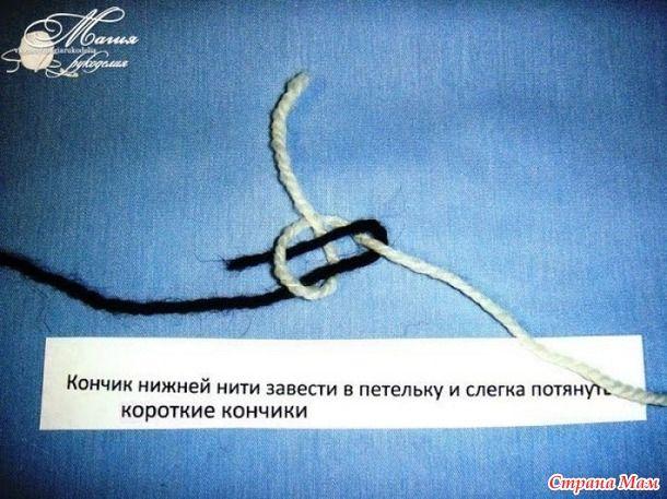Промышленный узелок для соединения нитей при вязании