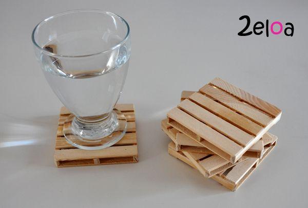 Posavasos palé de madera reciclada  Pallet coasters made of recycled wood