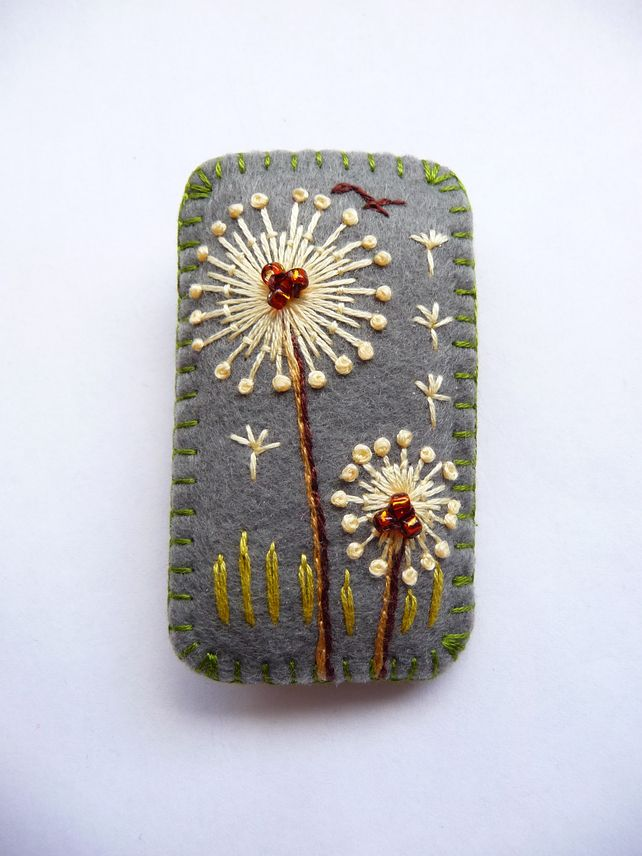 FB-128 - Rectangle Shape Dandelion inspired handmade felt brooch - Dark Grey £13.00