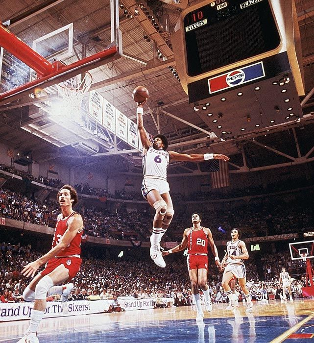 Dr. J soars for a dunk during Game 2 of the 1977 NBA Finals against Portland.