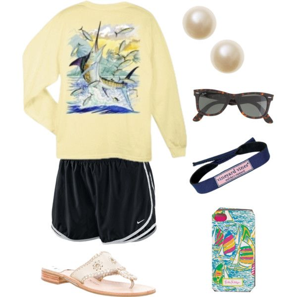 while I would love those Jack Rogers sandals, I think I'd do different shoes but I love the pearl earrings with such a casual outfit-YEAH NO... I TOTALLY do wear my Jacks with this outfit all the time!