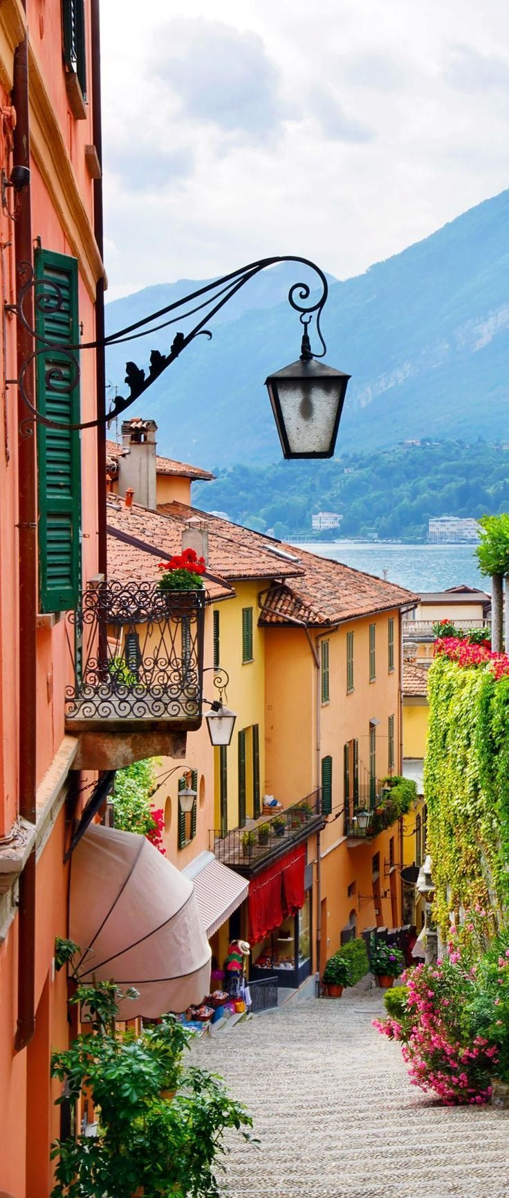 Picturesque small town street view in Bellagio, Lake Como. Italy.