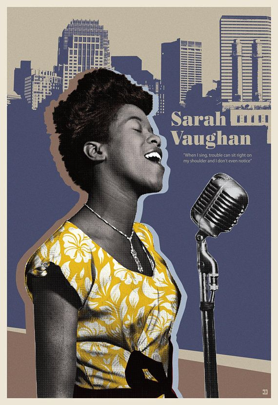 Sarah Vaughan Jazz poster by Toni Danilovic Graphic Design Posters, Graphic Design Illustration, Graphic Design Inspiration, Musik Player, Jazz Bar, Blues Rock, Rhapsody In Blue, Jazz Poster, Music Covers