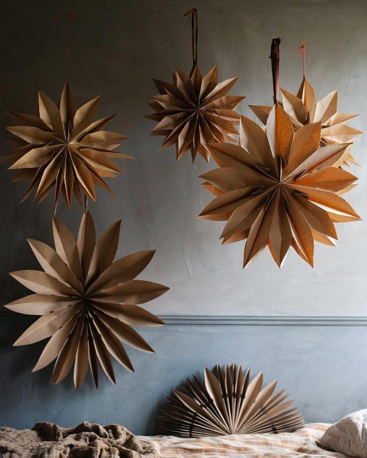 DIY paper bag stars #christmasdecor #christmascraf…