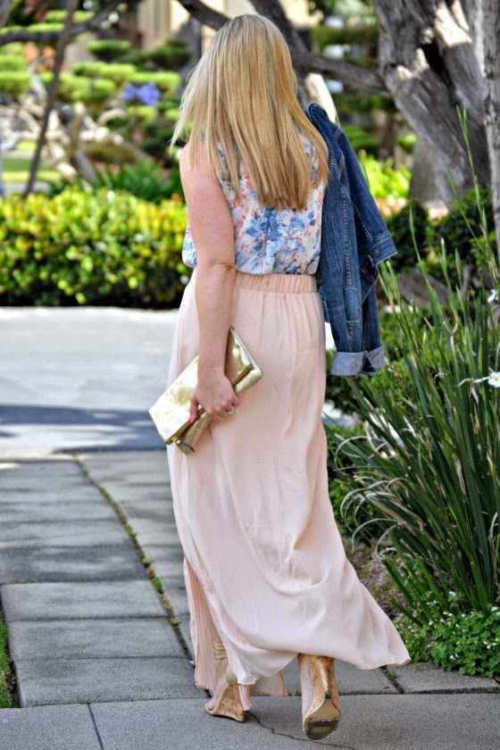 watercolor pastels fabfound blush maxi skirt floral