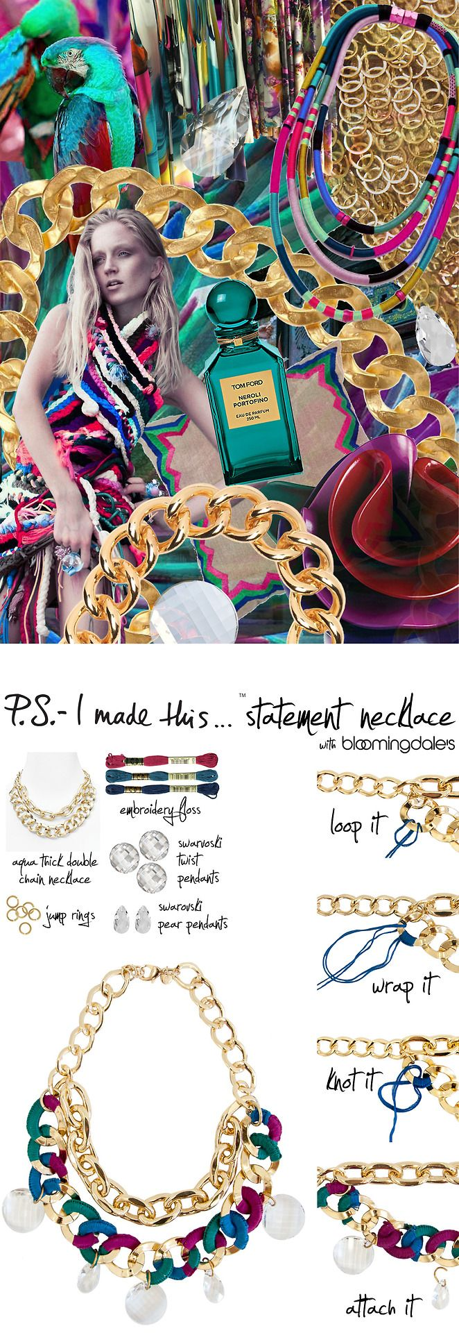 P.S.-I made this...Statement Necklace with @Bloomingdale's #Aqua #PSIMADETHIS #DIY