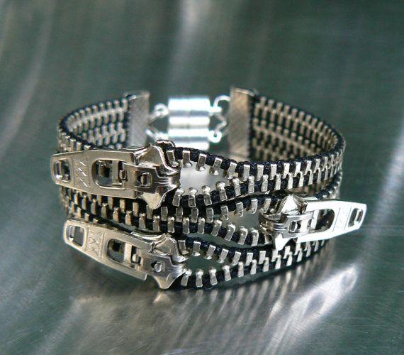 Nickel Uno Dos Tres Zipper Bracelet  Cuff by PeteAndVeronicas