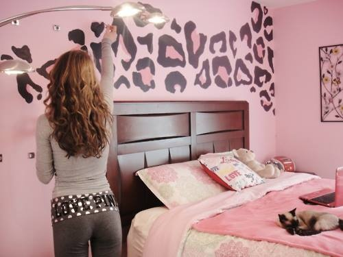 Pink leopard wall home decor painting bedroom - Pinke wand ideen ...