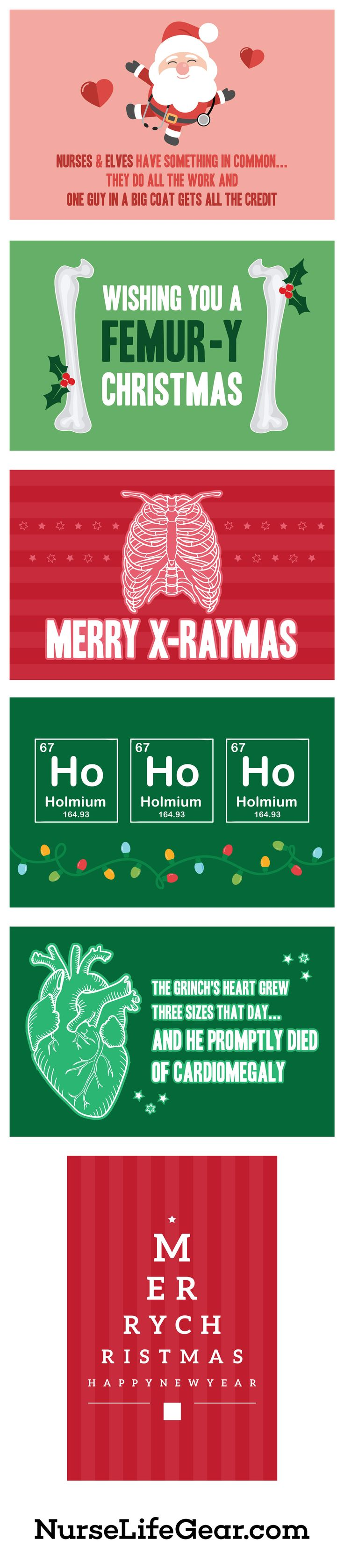 Funny Medical Christmas Cards for Nurses - Merry X-raymas, HoHoHo, Wishing you a Femur-y Christmas - For doctors, med students, nurses. Instant download and print for last minute gifts.