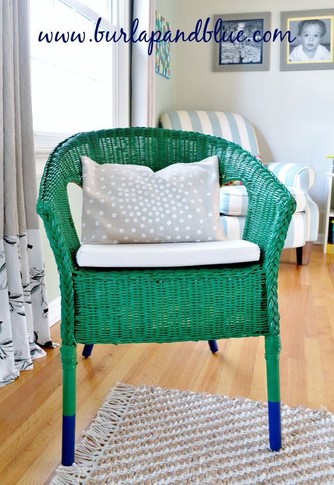 ikea wicker chair makeover {emerald green with navy dipped legs}
