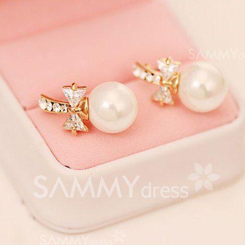 $4.42 Pair of Cute Diamante Big Faux Pearl Earrings For Women