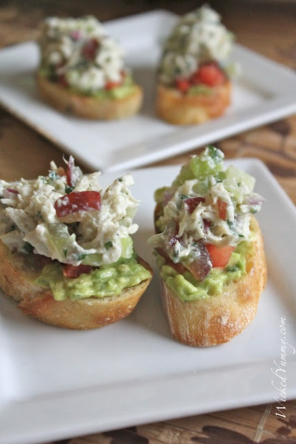 Chicken Salad and Avocado CrostiniAvocado Crostini, Recipe, Chicken Salads, Wicked Yummy, Food, Eating, Appetizers, Chickensalad, Greek Yogurt