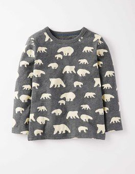 Charcoal Marl/Polar Bears Printed T-shirt Boden