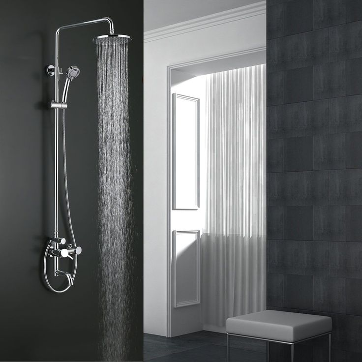 Our Showerhead & Bathtub Faucet - Brass with Chrome Finish is made up of solid brass construction, stainless steel shower hose, plastic handheld showerhead, silicone nozzles embedded in top shower head, and additional bathtub faucet. 8050 Blvd Taschereau, Local A, Brossard, QC J4X1C2 www.decoraport.ca  Tel: 450-672 8787
