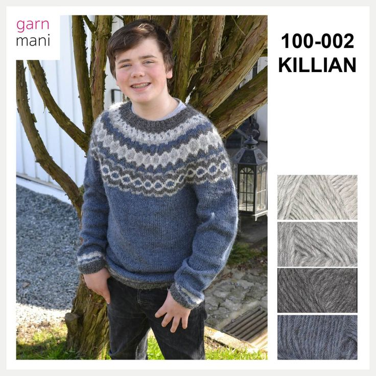 Killian is knitted in Lettlopi - designed by Tove Richter for Garnmani, the pattern or knitting kit for sale at www.garnmani.no in norwegian or english.
