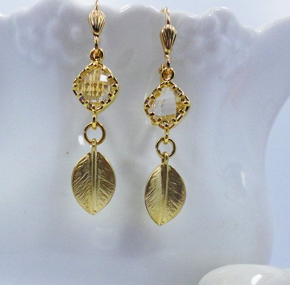 Earrings Gold  Leaf Crystal Clear Jewels old by Hollywoodbabe