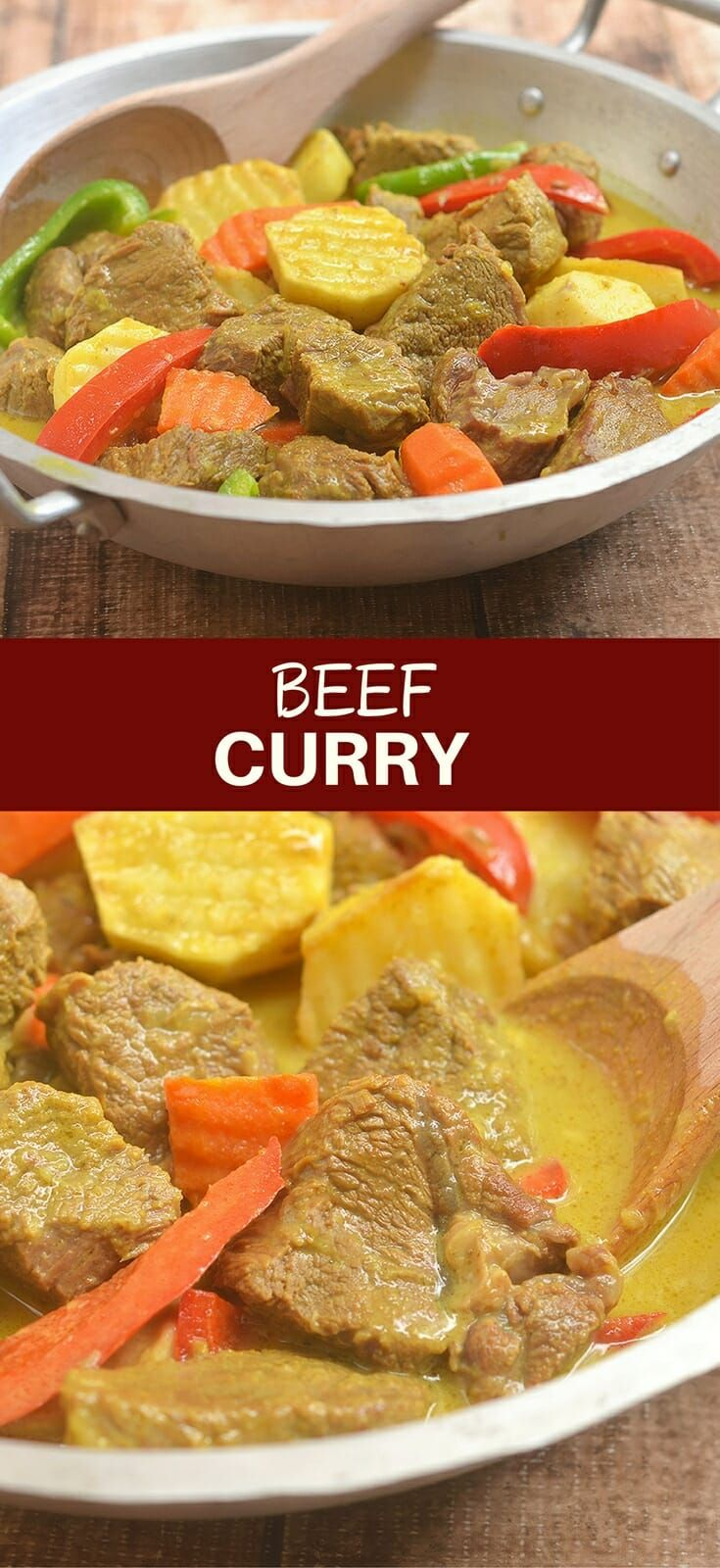 Beef Curry with tender beef, potatoes, carrots, and bell peppers braised in coconut milk and curry spices makes an amazing meal the whole family will love. Rich, hearty and flavorful, it's perfect with steamed rice!