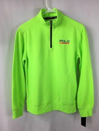 Polo Sport Ralph Lauren Boys Rescue Lime Green 1/4 Zip Sweatshirt NWT L 14-16