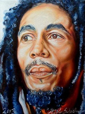 Rappresentazione pittorica di Bob Marley a cura dell'artista Sebastiano Topo. Su Ebay.