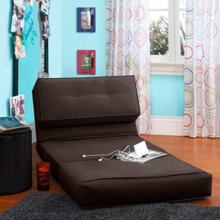 Brown flip chair small futon chair lays flat guest bed in Commerce, CA (sells for $60)