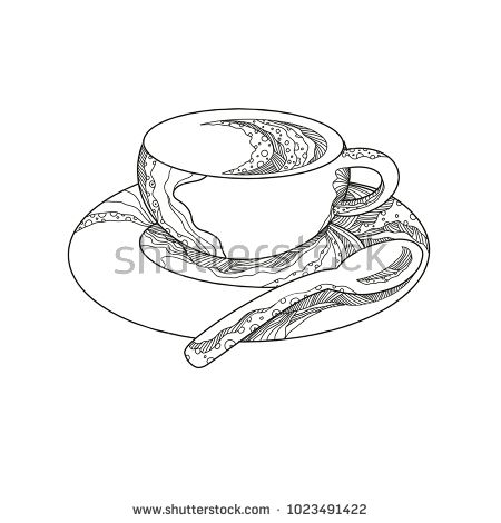 Doodle art illustration of a cup of coffee,a brewed drink  on saucer with teaspoon done in mandala style.  #cup #mandala #illustration