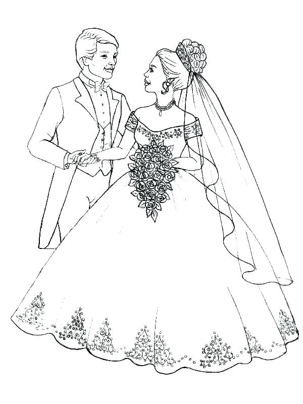 Flower Bouquet Coloring Pages Bride And Groom Coloring