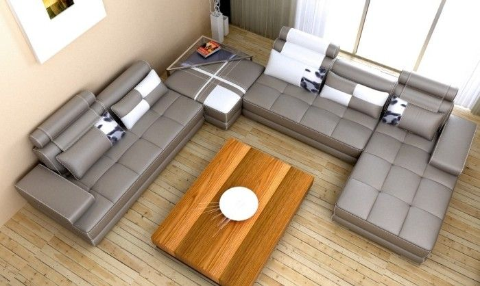 Ecksofa u form leder  graues Lounge-Ecksofa in U-Form und mit Leder-Bezug, Holz ...