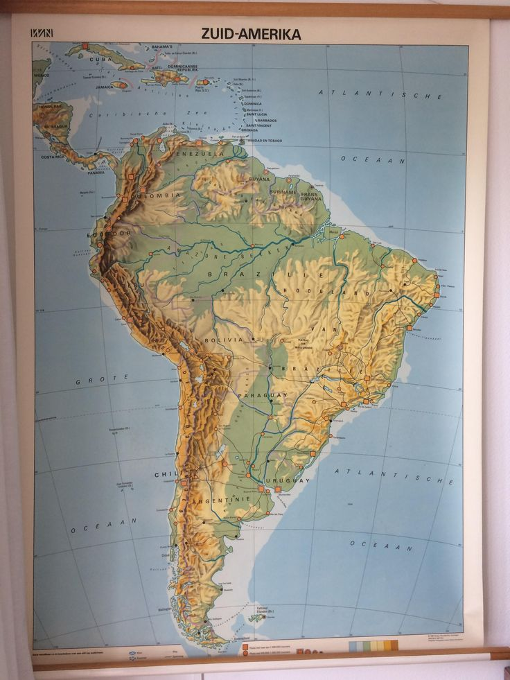 Vintage Dutch educational South America wall map by MORETHANVINTAGENL on Etsy