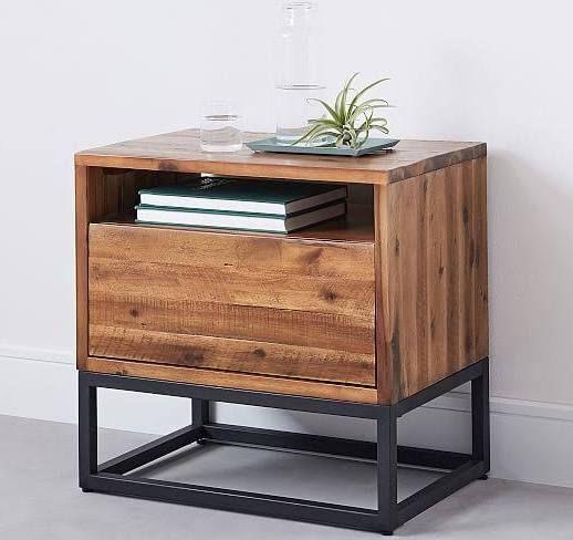 Wood And Metal Nightstand Reclaimed Nightstands 5 Drawer Dresser