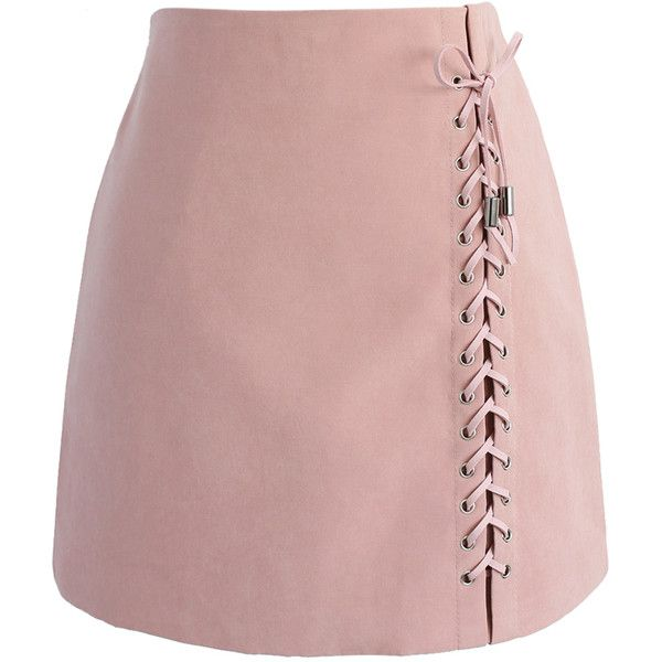 Chicwish Lace-up Tribe Bud Skirt in Pink (26.815 CLP) ❤ liked on Polyvore featuring skirts, mini skirts, bottoms, saias, faldas, pink, short mini skirts, pink suede skirt, pink miniskirt and short pink skirt