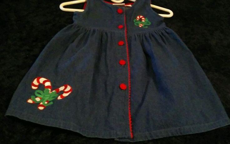 Kidlooks Toddler Girls Sleeveless Denim Christmas Jumper Dress Sz 5/6 (L) #kidlooks #DressyHoliday