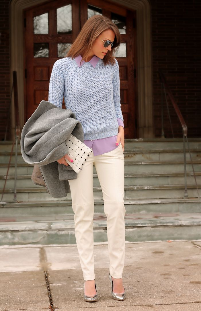 Layer lovely lavenders with a skinny khaki pant for an early spring look!