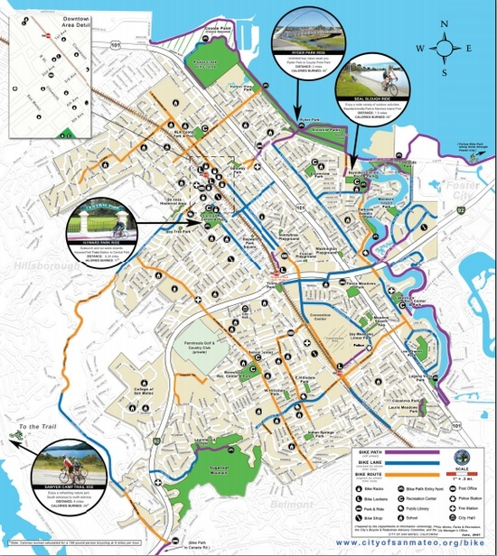 This Bike Map of San Mateo will hopefully provide citizens with a nice alternative way to explore the city and to promote more sustainable transit practices