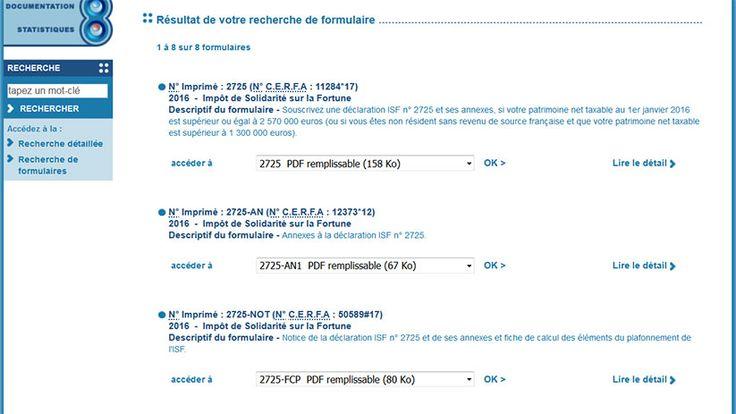 Le site impots.gouv permet de télécharger les formulaires ISF pour 2016 (TSMF)